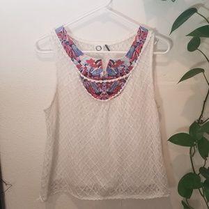Akemi + Kin Embroidered lace tank size m anthro